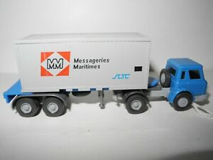 VINTAGE WIKING 1:87 INT.HARVESTER CONTAINER MESSAGERIES MARITIMES 882/1F&B