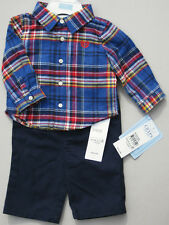 CHAPS 2-Pc Boys Red & Blue Plaid Flannel Shirt and Pants Set - 3 Months 3M - NEW