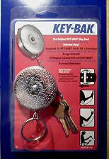 KEY BAK  MODEL #3 -  SILVER TONE Key Ring Caddy  Retractor  SLIP-ON