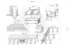 Stampa antica TINTURA TESSUTI attrezzature 1848 Old print