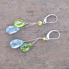 Natural Untreated Peridot and Swiss Blue Topaz Earrings in Solid 14K White Gold