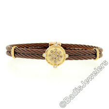 ALOR 18K Gold 0.33ctw Champagne Diamond Bronze Steel Cable Bangle Bracelet