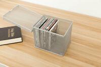 DCP DVD Storage Box Metal Mesh Desktop Organizer with Lid, Silver
