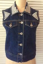 Rubbish Womens Denim Vest XS Jeans Jacket Blue Studded Sleeveless Crop Pockets