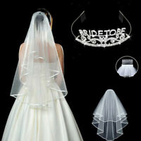 Women Girl White Lace Wedding Bride Maid Tiara Hair Veil Bachelorette Party