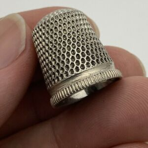 Antique sterling silver Sewing thimble anchor mark 7