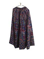 Om New Vintage Indian 100% Cotton Block Printed Blue Long Lehenga Skirt LP51