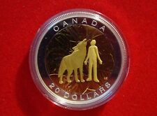 2014 Canada $20 Seven Sacred Teachings HUMILITY Wolf Silver Gold Plated Coin 1oz