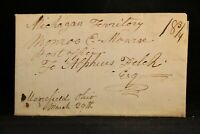 Ohio: Moorefield 1834 Stampless Cover, Ms to Monroe, Michigan Territory