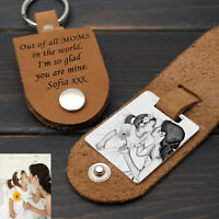 Personalised Leather Keychain Photo Keychain Picture Keyring Gift For Mom Keyfob
