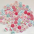 100Pcs 2 Holes Mixed Printing Round Pattern Wood Buttons Scrapbooking 15mm DIY