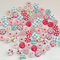 100Pcs Mixed Bulk Printing 2 Holes Wooden Buttons Sewing Craft Scrapbooking DIY