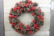 GISELA GRAHAM CHRISTMAS NATURAL CONE ACRYLIC RED BERRY LEAF WREATH d37cm