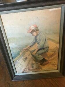 WATER COLOR BY LEANDER M CHURBUCK OF YOUNG BOY FISHING