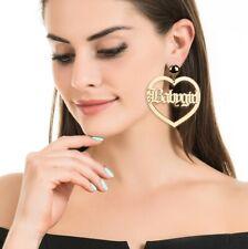 NEW BABYGIRL EARRINGS BAMBOO GOLD LARGE BIG HOOP HEART EARRINGS CREOLE BABY GIRL