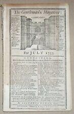 1753 GENTLEMAN'S MAGAZINE FRENCH & INDIAN WAR ~ LIBERTY BELL RAISED PHILADELPHIA