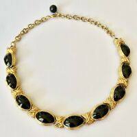 Gold Tone Black Enamel Chunky Chain Link Retro Necklace