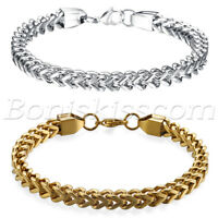 Stainless Steel Charm Square Curb Wheat Chain Link Bracelet Bangle Men's Jewelry