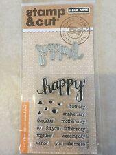 Hero Arts Clear Stamp & Cut Happy Thin Metal Die Cut Set DC150 NEW