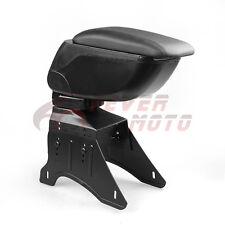 Black Leather Armrest Center Console Storage Box w/Bracket For Universal Car FM
