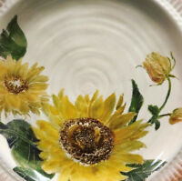 Pottery Barn Set 4 Sunflower Salad Plates Dessert French Country Hand Painted