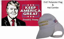 3'x5' Donald J Trump Keep America Great & Make America Great White Yellow Hat