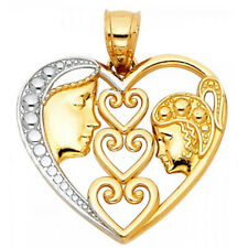 3 Open Heart Mother and Daughter Forever Pendant 14k Two Tone Gold Love Charm