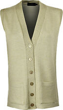 Womens Sleeve Less Knitted Cardigans Waistcoat V Neck Button Cardigan Medium/large Oatmeal