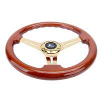 "350mm 1.75"" Deep Dish Heavy Duty 6 Bolt Steering Wheel Gold Chrome Spoke Wood"