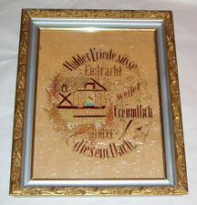 "Antique Framed German Victorian 16"" Punch Embroidery Paper Sampler Schiller Poem"