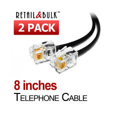 ( 2 Pack ) 8 Inch Short Telephone Cable RJ11 (6P4C) 8in Phone Line Cord