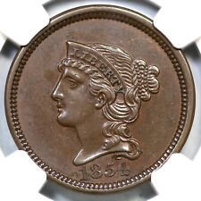 1854 J-161 NGC PF 58 Braided Hair Large Cent Coin 1c