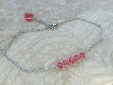 Anklet made with Padparadscha Swarovski Crystals Beads & Heart Charm - S/Steel