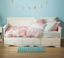 Twin Daybed with Storage Drawers White Sofa Seating White Wash Day Bed Bedroom