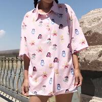 Lolita Sailor Moon Blouse Girl Printed Summer Pink Loose Short Sleeve Shirt Tops