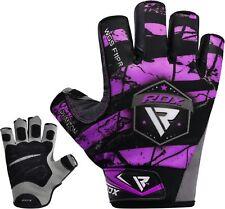RDX Guanti Palestra Bodybuilding Pelle Sollevamento Pesi Fitness Viola F11
