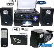 Jensen Home 3-Speed Turntable w/ CD AM/FM Stereo Radio Cassette Remote iPod New