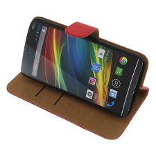 Funda para Wiko Slide Book Style Protectora Teléfono Móvil Estilo Libro Rojo