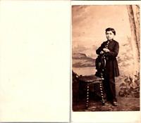 Jeune garçon élève Ecole militaire en uniforme Vintage CDV albumen carte de visi