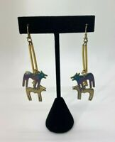 Vintage Rare Earrings Signed Laurel Burch Wild Dog Dangle Purple Blue Gold Toned