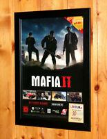 Mafia II 2 Video game Rare Small Poster / Ad Page Framed PS3 Xbox 360 Xbox Live