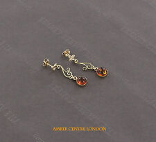 Italian Made Antique Genuine Baltic Amber Earrings in 9ct Gold GE0121 RRP£190!!!