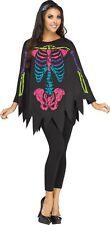 Rainbow Colored Skeleton Bones Black Poncho Gothic Women's Halloween Costume