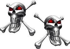 Vinyl sticker/decal Extra small 50mm long smile skull with red eyes - pair