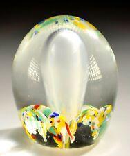 "Gentile Glass Paperweight Large Bubble Center w/ Multicolor Bubble Bottom 3.5"""