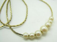 """W/Faux Pearl Add-A-Bead Style 24"""" Long Vintage Gold Tone Cobra Chain Necklace"""