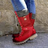 Women Leather Warm Snow Combat Rain Shoes Winter Mid Calf Lace Up Long Boots