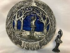 1980 Christmas In New England Pewter Plate By Michael Ricker 3353/5000 Signed