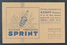 Carte de visite BOUGIE FRANÇAISE SPRINT KEMPFT Frères Paris 1932