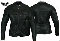 Australian Bikers Gear Ladies Sturgis Motorcycle LEATHER Jacket Clearance stock